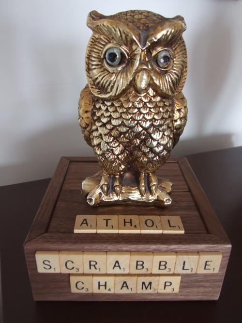 "The Athol Scrabble Champ award nicknamed the ""Hoot"" award made by Recreation Committee member Glen Wallis."