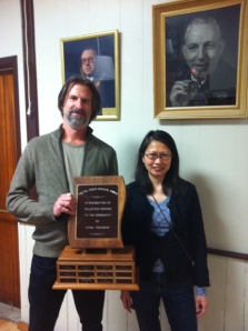 Lily Lee of Cherry Valley awarded the Philip Dodds Award presented by Glen Wallus voting member and resident of Cherry Valley.