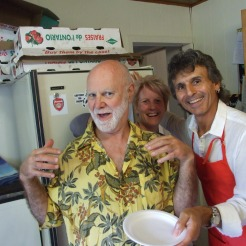 Our kitchen crew. Graham, Donna and Ron.