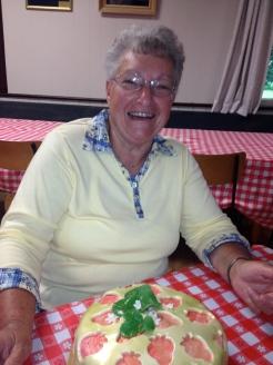 Raffle Winner of the Regent Cafe's wonderful cake, a happy Joan Sarley.
