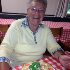 Raffle Winner of the Regent Cafe's wonderful cake, a happy Joan Sarley.