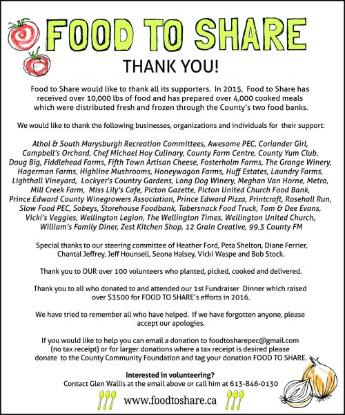 A thank you note from food to share the athol recreation centre fts ad 2v2 web altavistaventures Images