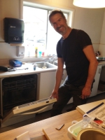Glen our Chair installing our new dishwasher!!!
