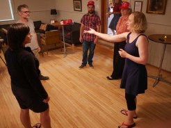 Teaching Diane about Improv during the free workshop!